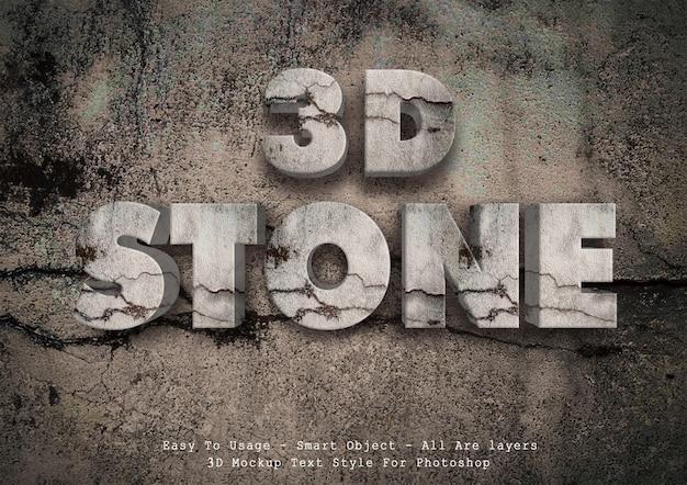Estilo de texto de pedra 3d Psd Premium