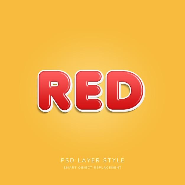 Estilo de texto em 3d vermelho Psd Premium