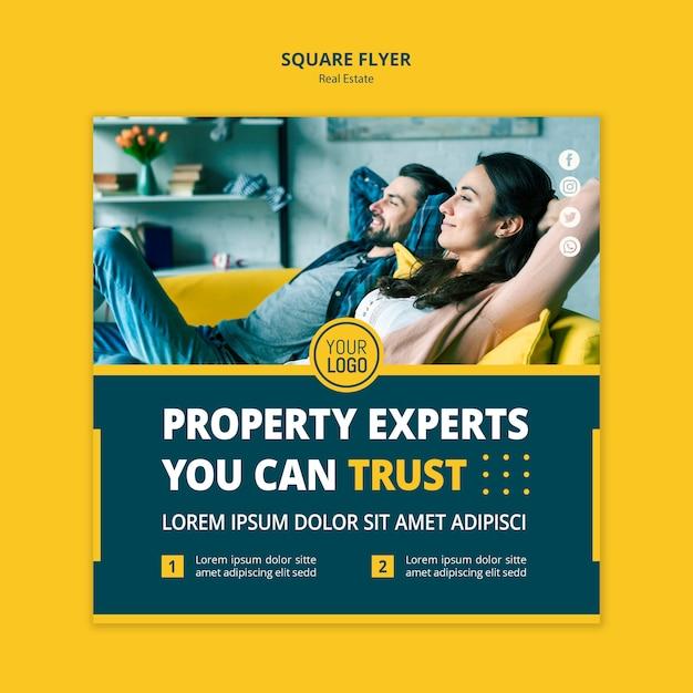 Estilo imobiliário panfleto quadrado de conceito Psd Premium