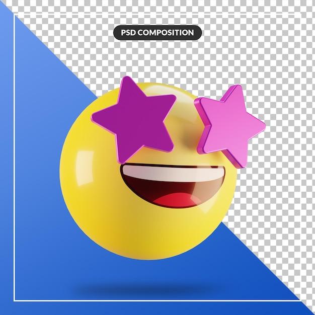 Estrela emoji 3d com rosto isolado para composição de mídia social Psd Premium