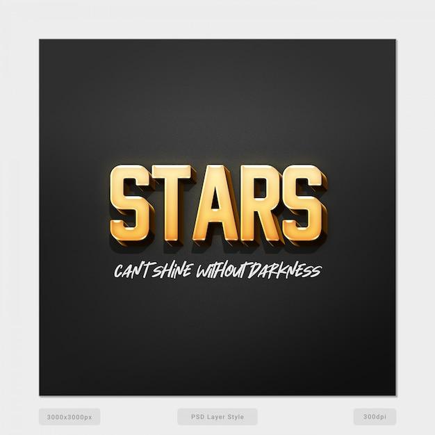 Estrelas não podem brilhar sem escuridão efeito de estilo de texto 3d psd Psd Premium