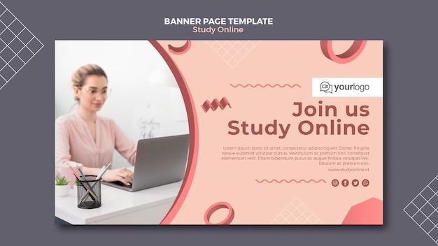 Estude o modelo de banner on-line Psd grátis