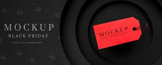 Etiqueta de preço e texto em vermelho de maquete de sexta-feira preta Psd grátis