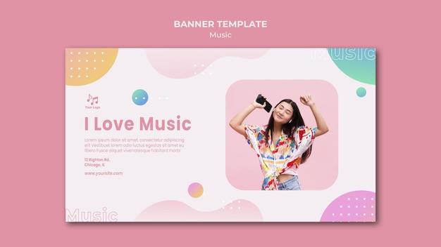 Eu amo modelo da web de banner de música Psd grátis