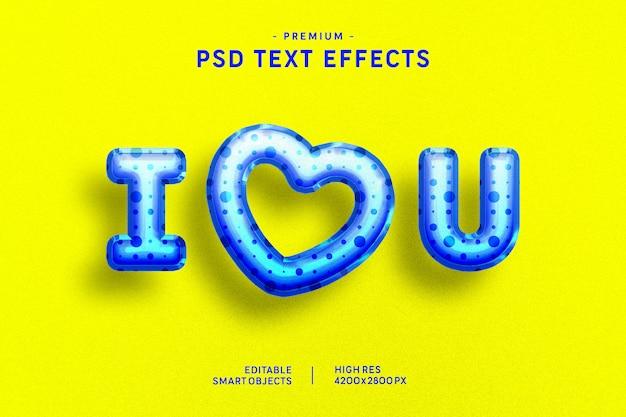 Eu te amo efeito de estilo de texto de balão azul dos namorados em amarelo Psd Premium