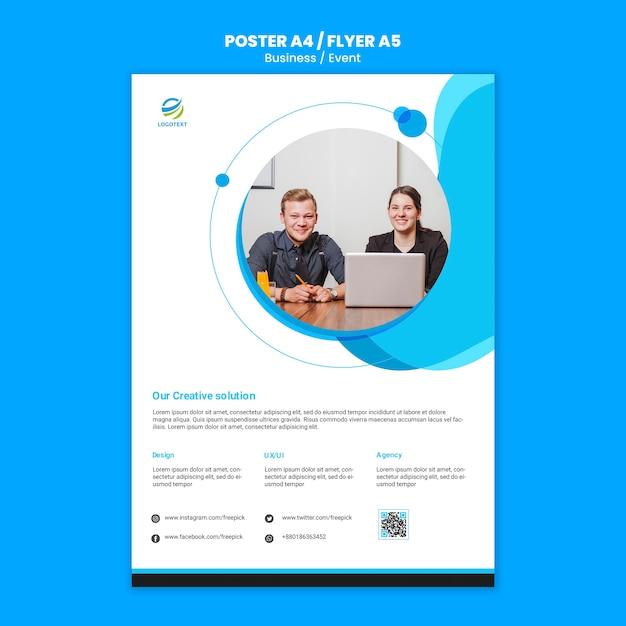 Evento de negócios com modelo da web para flyer Psd grátis