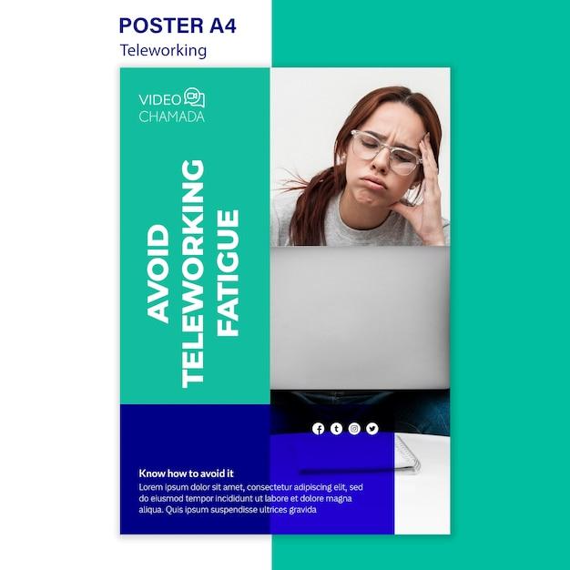 Evite o modelo de cartaz de fadiga do teletrabalho Psd grátis