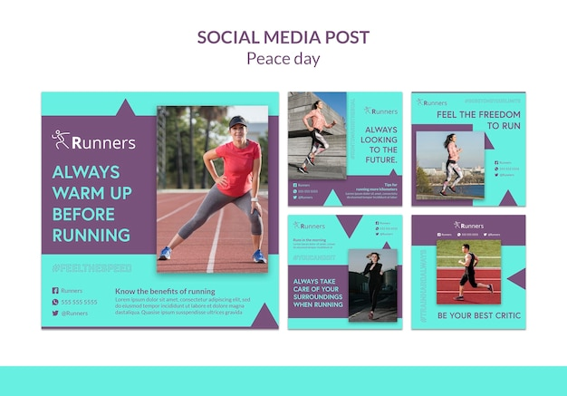 Executando modelo de postagem de treinamento em mídia social Psd Premium