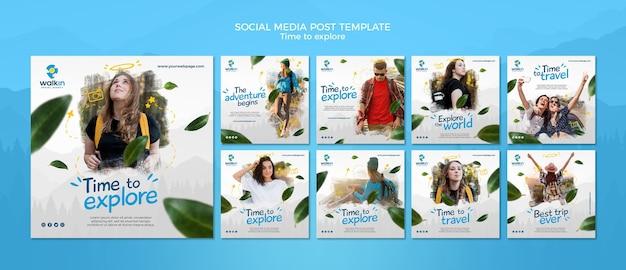 Explorar o modelo de postagem de mídia social do conceito Psd grátis