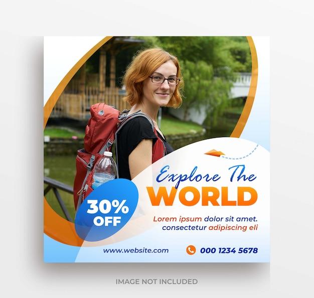 Explore o post do instagram do banner do mundo ou o modelo de folheto quadrado Psd Premium