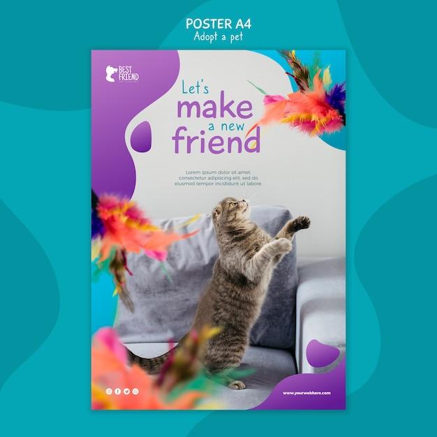 Faça um novo modelo de cartaz de amigo fofo Psd grátis
