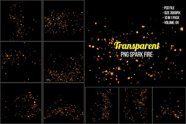 Faíscas ardentes em chamas voam do fogo grande Psd Premium