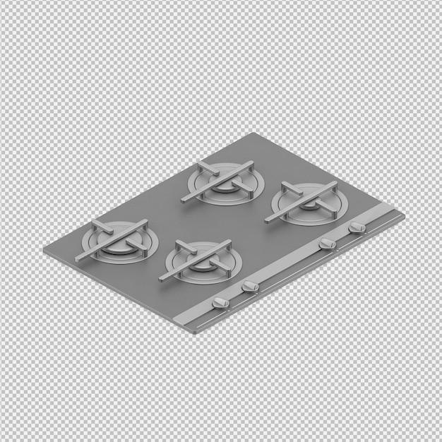 Faixa de cozinha isométrica 3d render Psd Premium