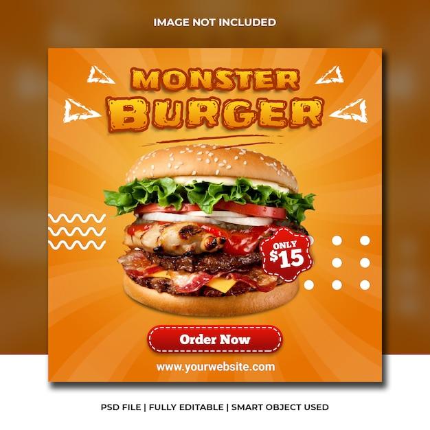Fast-food hambúrguer restaurante mídia social laranja modelo Psd Premium