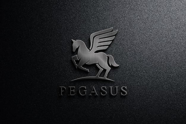 Feche a maquete do logotipo de metal escuro Psd Premium