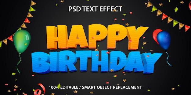 Feliz aniversário com efeito de texto editável Psd Premium