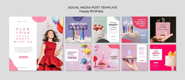 Feliz aniversário jovem num vestido post de mídia social Psd grátis