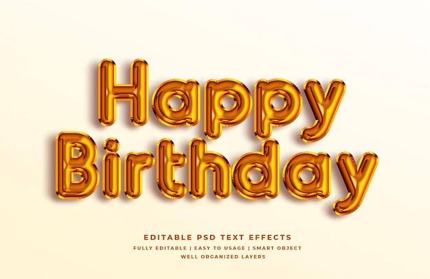 Feliz aniversário ouro efeito de estilo de texto 3d Psd Premium