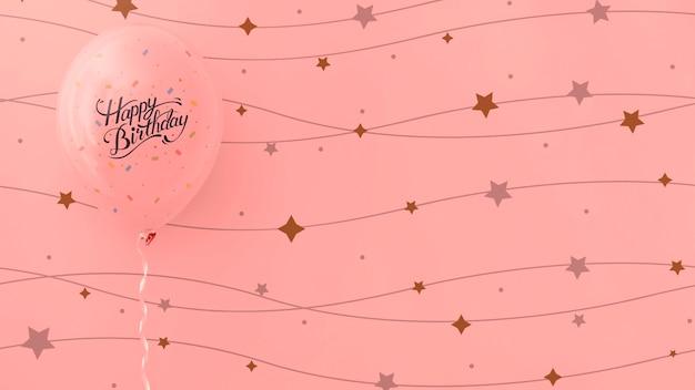 Feliz aniversário rosa balões com estrelas de corda Psd grátis