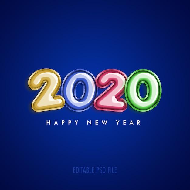 Feliz ano novo 2020 com balões coloridos metálicos Psd Premium