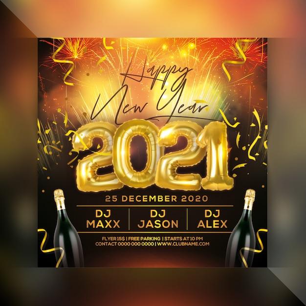 Feliz ano novo 2021 panfleto de festa Psd Premium