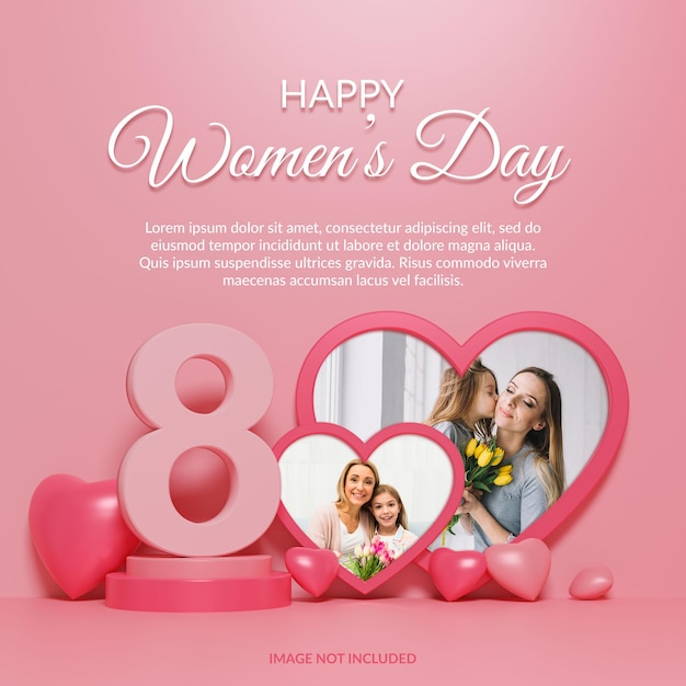 Feliz dia da mulher - maquete 3d renderização Psd Premium