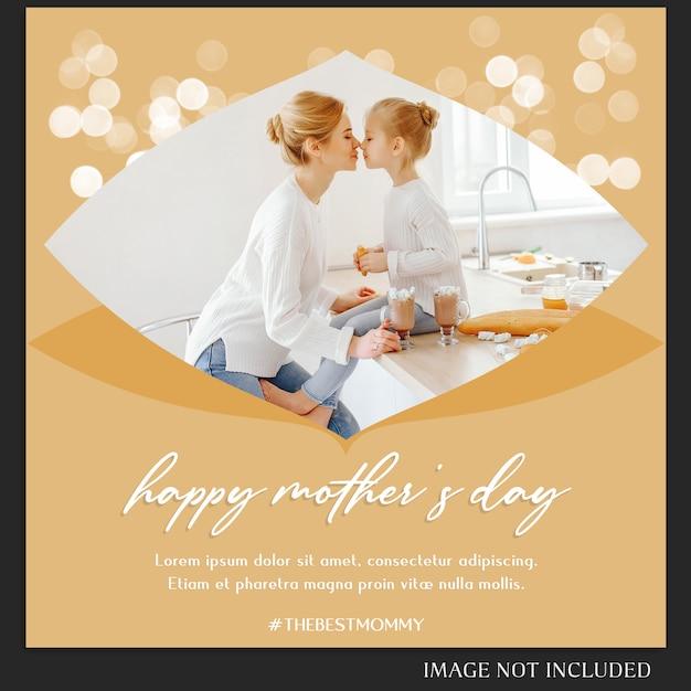 Feliz dia das mães saudação instagram post template Psd Premium