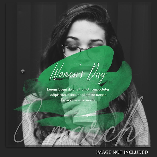 Feliz dia das mulheres e 8 de março saudação instagram post template Psd Premium