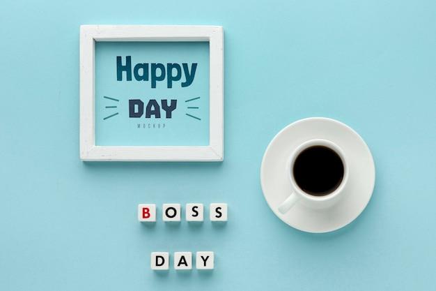 Feliz dia do chefe com moldura e café Psd grátis