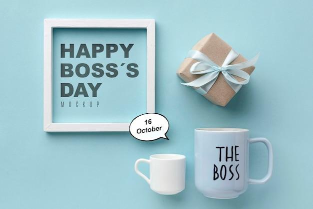 Feliz dia do chefe com moldura e presente Psd grátis