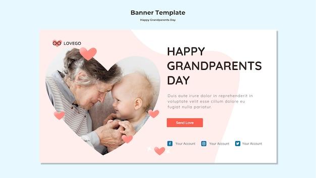 Feliz dia dos avós banner estilo Psd grátis