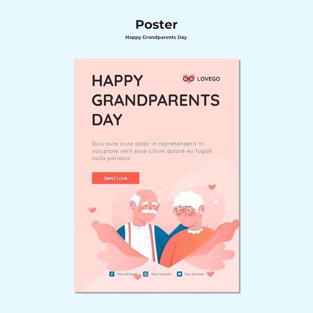 Feliz dia dos avós cartaz conceito Psd grátis