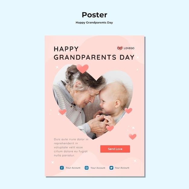 Feliz dia dos avós cartaz tema Psd grátis