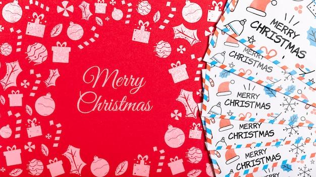 Feliz natal cartão de visita com modelo de rabiscos Psd grátis