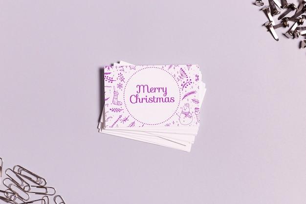 Feliz natal cartão de visita com rabiscos tradicionais de natal Psd grátis