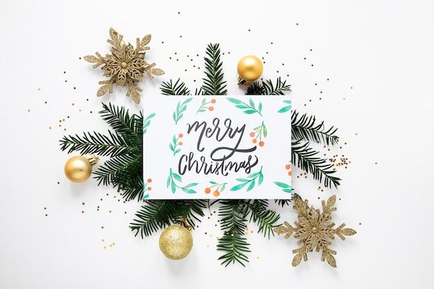 Feliz natal conceito em um cartão Psd grátis