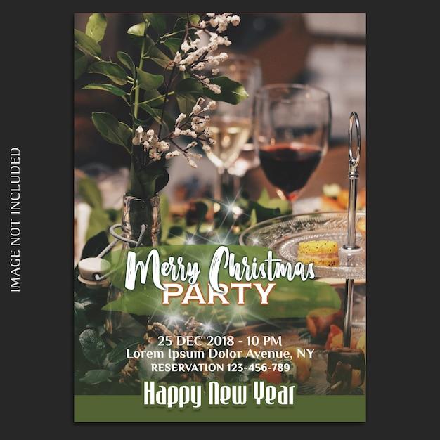 Feliz natal e feliz ano novo 2019 foto mockup e cartão de convite ou modelo de panfleto Psd Premium