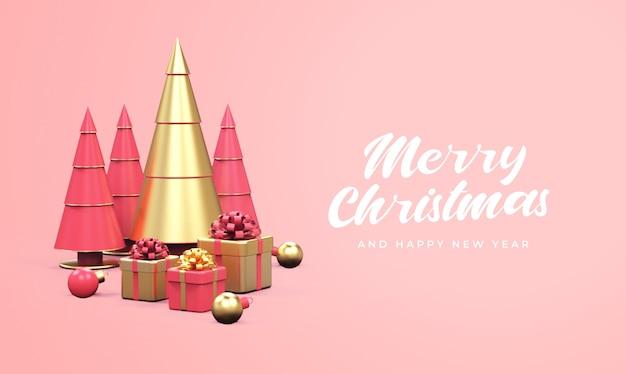 Feliz natal e feliz ano novo com pinheiros, caixas de presente e maquete de bolas de natal Psd Premium