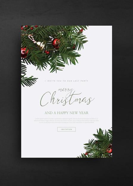 Feliz natal e feliz ano novo modelo de cartão de saudação Psd Premium