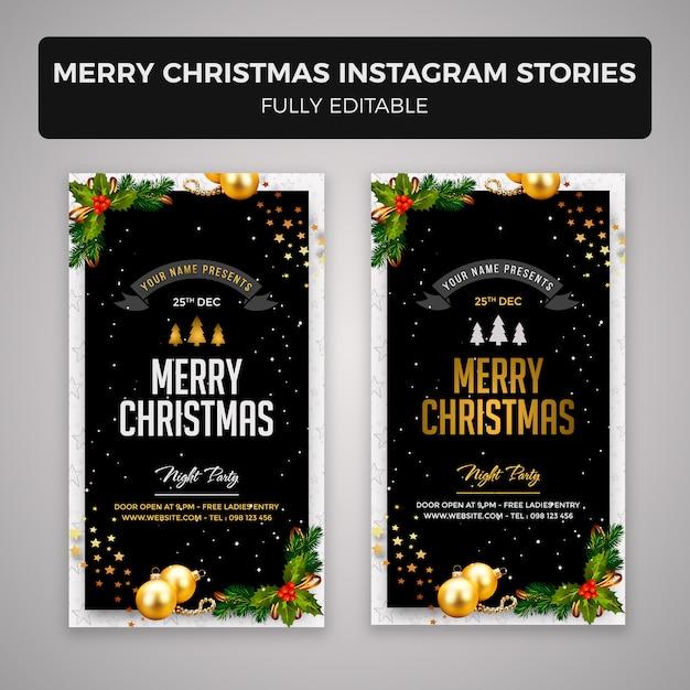 Feliz natal instagram histórias banner design Psd Premium