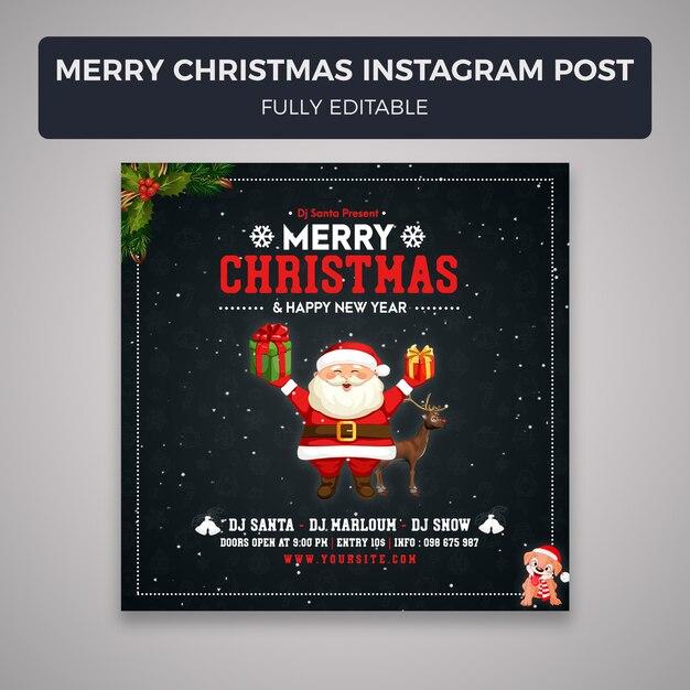 Feliz natal mídia social postar modelo de banner Psd Premium