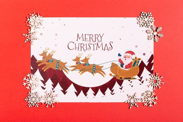 Feliz natal mock-up papel com flocos de neve prata bonitos Psd grátis