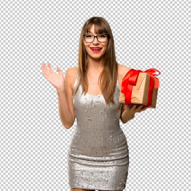 Feriados de natal. mulher, desgastar, um, lantejoula, vestido, elebrating, ano novo, 2019 Psd Premium