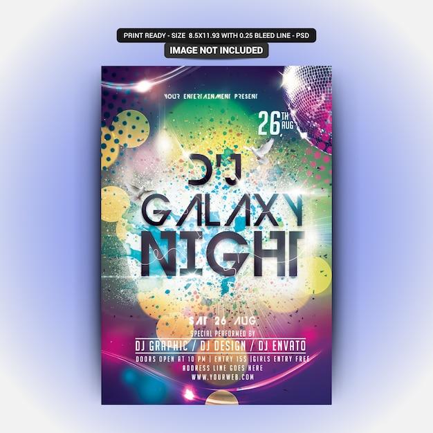 Festa da noite da galáxia do dj Psd Premium