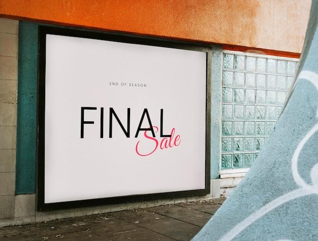 Final da temporada final venda placa mockup Psd grátis