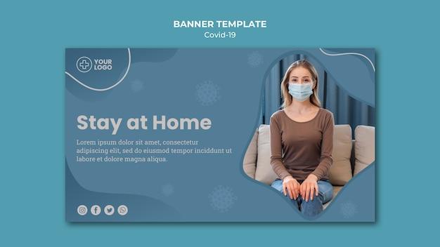 Fique em casa banner conceito de coronavírus Psd grátis