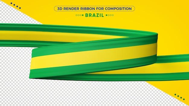 Fita de renderização 3d do brasil para composição Psd Premium