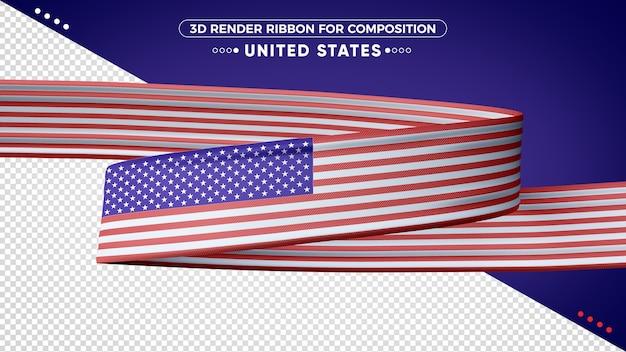 Fita de renderização 3d dos estados unidos para composição Psd Premium