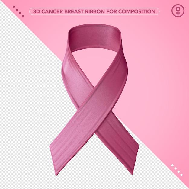 Fita rosa 3d de câncer de mama para conscientização Psd Premium