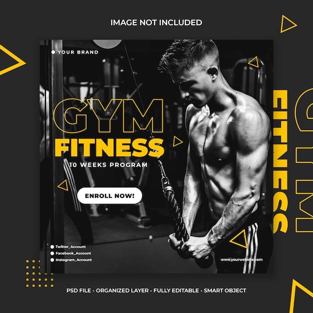 Fitness e ginásio treino mídia social instagram post ou quadrado Psd Premium
